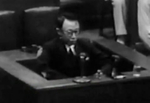 Puyi at the International Military Tribunal for the Far East in Tokyo, Japan, mid-Aug 1946, photo 2 of 6