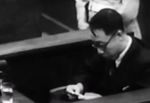 Puyi at the International Military Tribunal for the Far East in Tokyo, Japan, mid-Aug 1946, photo 4 of 6