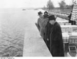 German Ambassador to London Herbert von Dircksen, British Prime Minister Neville Chamberlain, and German Foreign Minister Joachim von Ribbentrop at Lake Chiemsee, Germany, 15 Sep 1938