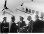 Joachim von Ribbentrop greeting Neville Chamberlain at the airport in Köln, Germany, 22 Sep 1938