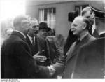 Neville Chamberlain, Nevile Henderson, and Joachim von Ribbentrop at Hotel Petersburg in Bad Godesberg, Germany, 22 Sep 1938