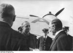 Joachim von Ribbentrop bidding farewell to Neville Chamberlain, Bad Godesberg, Germany, 25 Sep 1938