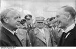 Joachim von Ribbentrop and Neville Chamberlain, München airport, Germany, 30 Sep 1938
