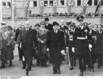 French Prime Minister Edouard Daladier departing Munich, Germany after the Munich Conference, 30 Sep 1938, photo 2 of 2; Joachim von Ribbentrop also present