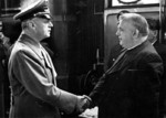 German Foreign Minister Joachim von Ribbentrop shaking hands with Slovakian President Jozef Tiso, Salzburg, German-occupied Austria, Jul 1940