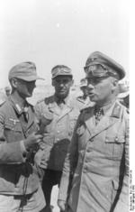 German Army reporter Gunther Halm interviewing Erwin Rommel while Fritz Bayerlein looked on, North Africa, post 22 Jun 1942