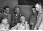 Erwin Rommel speaking to German Colonel Paul Diesener and Italian General Navarini, North Africa, 21 Nov 1941