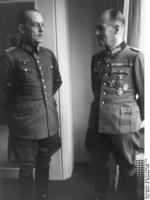 Erwin Rommel and Gerd von Rundstedt in discussion at the Hotel George V, Paris, France, 19 Dec 1943, photo 1 of 5
