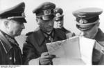 German Field Marshal Erwin Rommel with General Hans Sinnhuber, Lieutenant General Hans Speidel, and Captain Lang at Pas de Calais, France, 18 Apr 1944