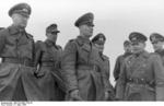 German Army Lieutenant General Felix Schwalbe, Field Marshal Erwin Rommel, and General Walter Fischer von Weikersthal at the Somme estuary, France, 11 Mar 1944