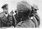Field Marshal Erwin Rommel inspecting an Indian volunteer unit in German service in France on the coast of Bay of Biscay, Feb 1944