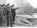 Field Marshal Erwin Rommel inspecting a submarine pen with General Wilhelm Fahrmbacher and Commander Ernst Kellermann, St. Nazaire, France, 18 Feb 1944