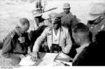 Colonel General Erwin Rommel and Major General Georg von Bismarck of 21. Panzerdivision studying a map in the field, North Africa, early summer 1942, photo 1 of 2