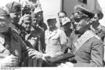 Rommel receiving the title of the Grand Officer of the Colonial Order of the Star of Italy, North Africa, 28 Apr 1942, photo 3 of 3