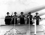 Roosevelt waved farewell aboard Indianapolis, Charleston, South Carolina, 18 Nov 1936