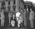 Franklin Roosevelt, Winston Churchill, and others at the White House during Trident Conference, Washington DC, United States, 24 May 1943