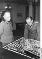 Erwin Rommel and Gerd von Rundstedt in discussion at the Hotel George V, Paris, France, 19 Dec 1943, photo 3 of 5