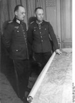 Rundstedt and Rommel studying a map at the LXXXI Army Corps headquarters in Northern France, 30 Mar 1944