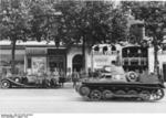 German Panzer I tank on parade through Paris, France, Aug 1942; note Field Marshal Rundstedt in background