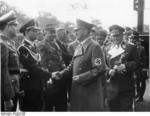Adolf Hitler greeted by German officials, Munich, Germany, 1 Oct 1938