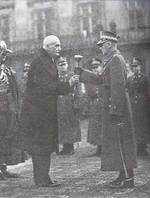 Rydz-Smigly receiving the title of Marshal of Poland from Ignacy Moscicki, Warsaw, Poland, 10 Nov 1936