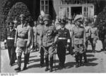 Seyß-Inquart, Mackensen, Canaris, Christiansen, Haase, and Densch at the funeral of Kaiser Wilhelm II, Doorn, Netherlands, 9 Jun 1941