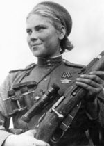 Roza Shanina with a Mosin-Nagant 1891/30 rifle with 3.5x PU scope, 1944