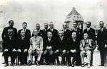 Prime Minister Kijuro Shidehara with his cabinet, 9 Oct 1945; note Mitsumasa Yonai and Shigeru Yoshida in front row