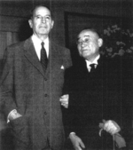 Douglas MacArthur and Shigeru Yoshida at the Waldorf-Astoria Hotel, New York, New York, United States, 5 Nov 1954