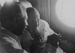 Prime Minister Shigeru Yoshida and his aide Jiro Shirasu in a passenger aircraft en route to the San Francisco Peace Conference, Sep 1951