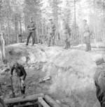 Finnish General Hjalmar Siilasvuo inspecting the construction of defensive fortifications in Finland, 1940s