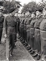 Lieutenant General Guy Simonds inspecting II Canadian Corps in Meppen, Germany, 31 May 1945