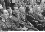 Otto Skorzeny, Helmut Körner, Fritz Reinhardt, and Kurt Zschirnt at a rally at the Sportpalast in Berlin, Germany, 3 Oct 1943, photo 1 of 2