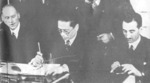 Song Ziwen signing the document to which the United States and the United Kingdom relinquished their spheres of influence in China, 1940s