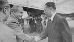 Vyacheslav Molotov welcoming Song Ziwen to the Soviet Union, Moscow, Russia, circa 13-14 Aug 1945