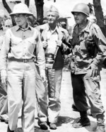 American leaders at Okinawa, Japan: Spruance, Nimitz, and Buckner, circa May 1945