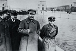 Kliment Voroshilov, Vyacheslav Molotov, Stalin and Nikolai Yezhov at the shore of the Moscow-Volga Channel near Moscow, Russia, 1937