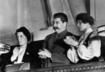 Joseph Stalin with collective farmers Maria Demchenko and Praskovya Angelina at the 10th Congress of the Komsomol, Moscow, Russia, 11-21 Apr 1936