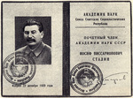 Certificate showing Stalin as a honorary member of the Academy of Sciences of the Soviet Union, issued on 22 Dec 1939, as seen in the Ogonyok magazine dated 15 Mar 1953
