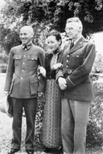 Chiang Kaishek, Song Meiling, and Joseph Stilwell at Maymyo, Burma, 19 Apr 1942, photo 1 of 3
