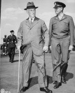 US Secretary of State Henry Stimson and Colonel W. H. Kyle at Gatow Airfield, Berlin, Germany, 15 Jul 1945