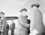 US Secretary of War Henry Stimson and Assistant Secretary of War John McCloy, Gatow Airfield, Berlin, Germany, 15 Jul 1945