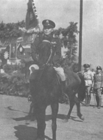 Sun Liren on horseback, date unknown; note Chinese New First Corps banner in background