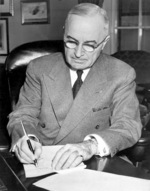 US President Harry Truman signing the proclamation declaring a national emergency, White House, Washington DC, United States, 16 Dec 1950