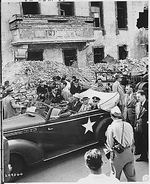 US President Harry Truman, Secretary of State James Byrnes, and Fleet Admiral William Leahy touring the ruins of Hitler