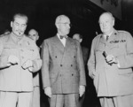 Joseph Stalin, Harry Truman, and Winston Churchill during the Potsdam Conference, Germany, 17 Jul 1945, photo 2 of 2