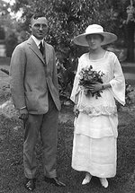 Wedding photo of Harry Truman and Bess Wallace, 219 N. Delaware, Independence, Missouri, United States, 28 Jun 1919