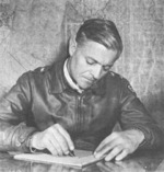 Lucian Truscott at a desk, circa 1944