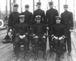 Officers of USS Marietta, 8 May 1914; note Lieutenant (jg) Richmond Turner in second row, third from left