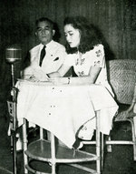 Jorge Vargas, President of the Japanese-sponsored Philippine Executive Commission, speaking in public with his daughter, 19 Feb 1943